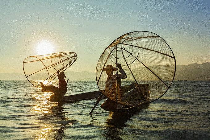 Риболовля на озері Інле, М'янма